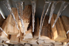 Woodpile and icicles