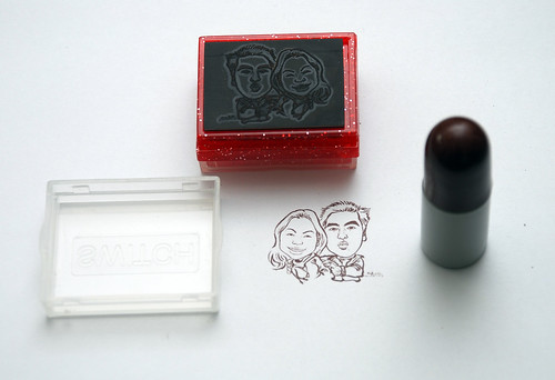 couple caricatures on ink stamp + refill 2