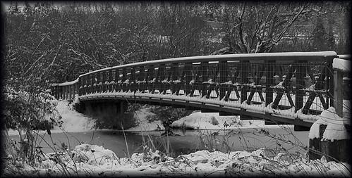 bridge over snowy waters