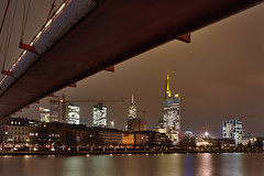 Under The Bridge (Philipp Klinger Photography) Tags: bridge windows light sky building water skyline night clouds skyscraper buildings reflections river germany deutschland office construction europa europe long exposure hessen frankfurt main under illumination bank highrise philipp spiegelung sites hochhaus hesse wolkenkratzer klinger holbeinsteg aplusphoto dcdead
