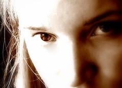 in the EYE (lets_rock_90) Tags: light woman girl sepia eyes lumire femme yeux fille intheeye