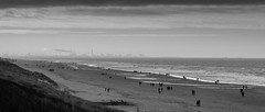 Beach, Kijkduin, The Netherlands (MarkHout) Tags: travel sea bw panorama seascape black beach water netherlands weather clouds landscape rotterdam sand rocks waves hiking pano horizon wide scenic nederland blackwhitephotos