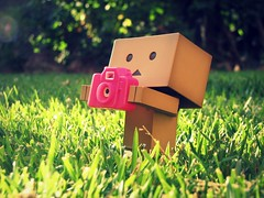 Outside and ready to capture the Summer away (willycoolpics.) Tags: camera pink canon lens toy robot action bokeh manga explore cardboard figure flare thursday picnik yotsuba danbo explored revoltech danboard cardbo outsideandreadytoshoot