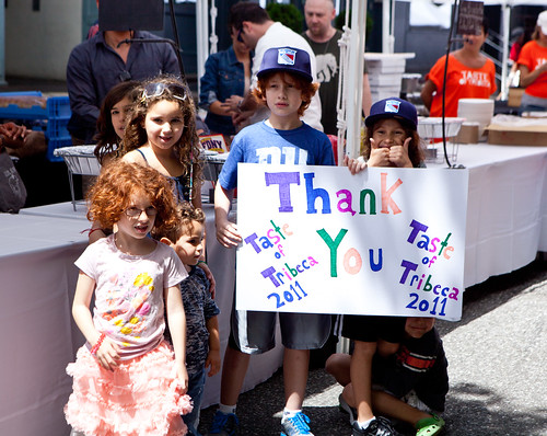 Kids saying 'Thank you' to Taste of TriBeCa