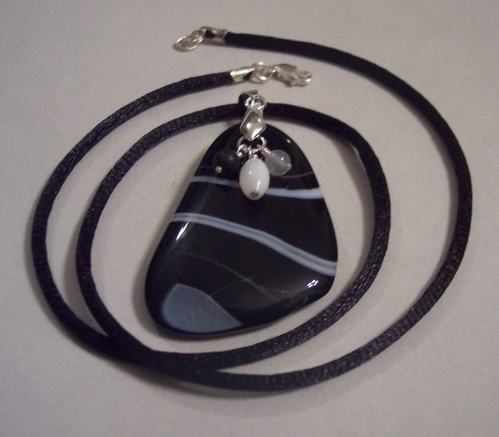 Banded Black Agate Freeform Dangle Cord Pendant Necklace