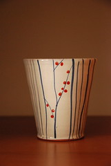 one of a kind (paula agostino) Tags: show blue red toronto ontario canada lines ceramic one spring artist hand sale painted jenny kind made tiny clark mug vase pottery dots 2008 earthenware