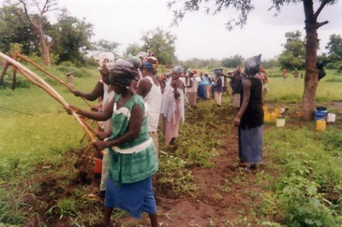women tilling ground