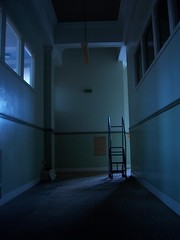 abandoned psychiatric hospital (Alir147) Tags: hospital scotland hall stage wheelchair memories paintings medical photographs forgotten nhs historical nurse exploration asylum derelict wards mentalhospital lunaticasylum abandonedhospital abandonedmentalhospital derelicthospital corrdior patientartwork