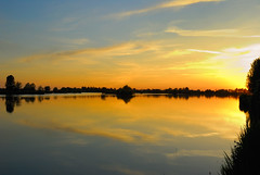 Scende la sera ad Ostellato (Teone!) Tags: sunset italy panorama landscape italia tramonto dusk fiume po reflexions reflexion controluce emiliaromagna riflesso oasi naturesfinest artisticexpression orangeskies ostellato anawesomeshot flickrbestpics