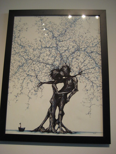 lovers embrace art. Two tree lovers embrace in