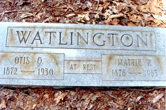 Otis Oscar and Mattie Page Watlington Gravestone