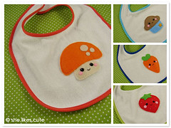 shop update: baby bibs (she.likes.cute) Tags: baby cute mushroom strawberry handmade craft happiness felt polka cupcake kawaii carrot dots bibs shelikescute slabbetjes
