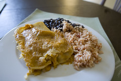 Vegetarian Chicken Enchiladas, Black Beans, and Rice