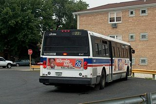CTA Route # 77 Belmont Avenue bus at the turn around loop west of North Harlem avenue. Chicago Illinois. August 2006.