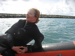 lounging (squeezemonkey) Tags: wall portland boat harbour diver rib drysuit othree