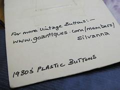 Cartela de botão vintage - verso