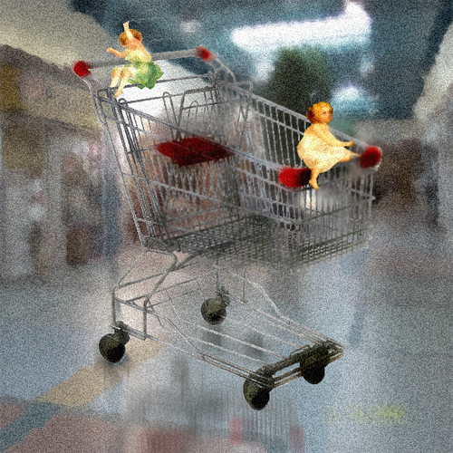 pixies in a shopping cart
