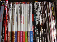 Comic books (the_dan) Tags: vertigo books row shelf civilwar marvel dmz warrenellis graphicnovels globalfrequency brianwood thehood exmachina ythelastman scalped piaguerra markmillar thewalkingdead robertkirkman jasonaaron bryankvaughan