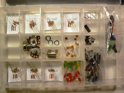 Parts case with resistor labels