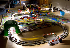 Lego train rides in the dark (Color) (lambertwm) Tags: longexposure light shadow night train dark toy tren toys evening track play lego gare zug bahnhof tunnel stazione treno trein viewcount estao chemindefer toysforboys lwmfav