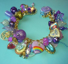 Lovehearts (Rainbow Mermaid) Tags: cute hearts rainbow purple handmade craft kitsch jewelry charm retro jewellery harajuku bracelet decora loaded rainbowmermaid