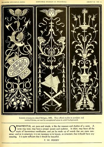 11- Ornamentos boloñeses de 1495 con formas verticales y colgantes sobre fondo oscuro o negro