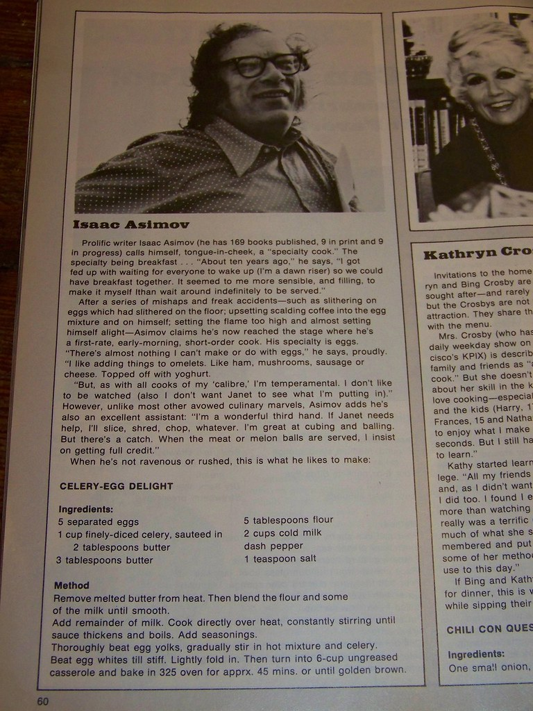 ISAAC ASIMOV'S FAVORITE RECIPIE : 1976 CELEBRITY MAGAZINE