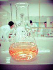 Methyl orange. (SuellenLemos) Tags: orange lab chemistry qumica titration erlenmeyer phenolphthalein