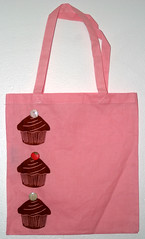 The Cupcake Tote (with cherries on top) (thebookishlife) Tags: pink blue brown cherry handmade gocco cupcake button tote screnprint spaceoddities