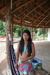 Embera woman in a town near Sambu river Panama (Stereomania) Tags: travel woman indian tribal panama tribe indios darien ethnic embera indigenous sambu wounan riosambu