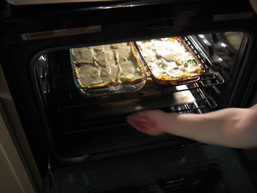 Lasagna in the Oven
