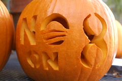 "P's ""no on 8 + obama"" pumpkin"