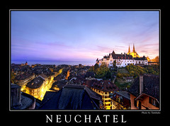 Neuchtel by night (Tambako the Jaguar) Tags: old city longexposure sunset sky lake castle beautiful architecture night buildings lights switzerland evening nikon colorful view nightshot hill frame gradient hdr neuchtel d300 photomatix colorphotoaward aplusphoto betterthangood mygearandme mygearandmepremium