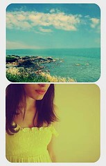 (miss sundress) Tags: sea sky girl yellow clouds diptych dress sundress