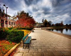 Delaware Park HDR (sandrajkammerer) Tags: park autumn trees lake ny art colors stone clouds canon bench way buffalo gallery angle walk wide parks marcy casino western knox delaware hdr 1022 hoyt olmstead conservancy albright 40d abigfave distinguishedhdr