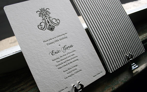 Letterpress birthday invitations by Smock: Nevis design