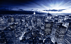 Blue York (Dominic Kamp) Tags: new york city blue light sunset panorama usa sun building statue america skyscraper square liberty lights evening high nikon stream ray view traffic state sigma ground center madison empire times rays chrysler rockefeller 1020mm avenue 5th zero hdr clowds 6th d300 blueray aplusphoto