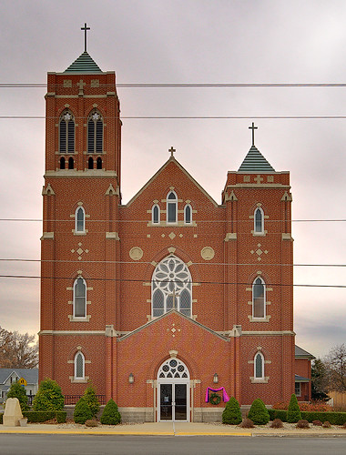 Saint Bernard Roman Catholic Church, in Albers, Illinois, USA - exterior front
