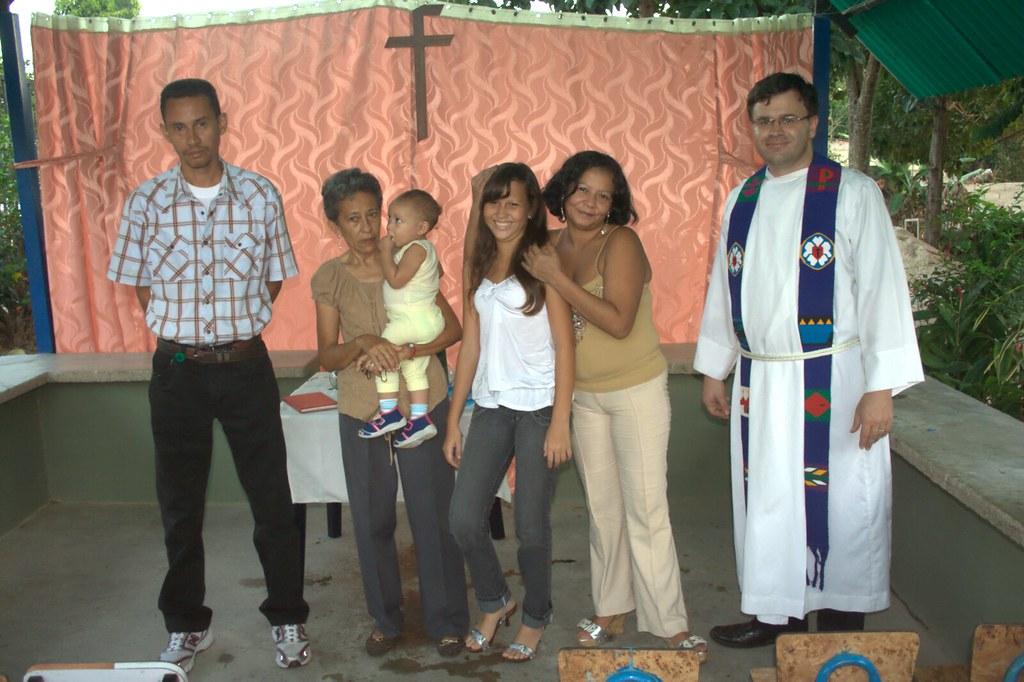 Maria Brito with her family and Ted Krey