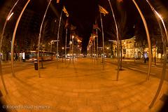 Between the flags (Berts @idar) Tags: noche calle zaragoza panoramica nocturnas callejeando nocturno espaa peleng8mmfisheye canoneos400ddigital