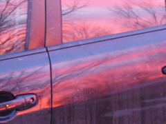 Sunset Reflected (just_me_T) Tags: sunset red black color reflection car purple michigan suburbia finepix fujifilm fujifilmfinepixs1000fd finepixs1000fd