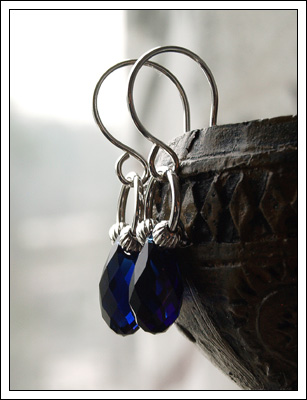 Dark Indigo crystal earrings