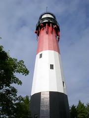 stilo lighthouse (kexi) Tags: blue red sky lighthouse white black vertical nikon perspective poland polska balticsea baltic september coolpix tall 2008 leba stilo batyk instantfave kartpostal thebestofday