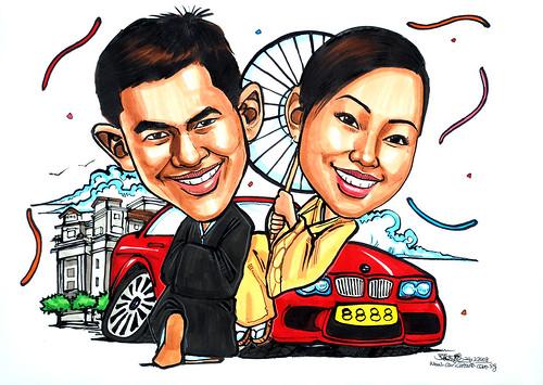 wedding couple caricatures in Kimono BMW Fullerton Hotel