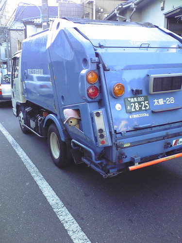 Garbage truck with mascot