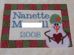Personalized embroidered quilt label