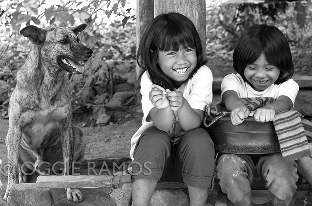 Bangaan - Smiling Children and Smiling Dog BW