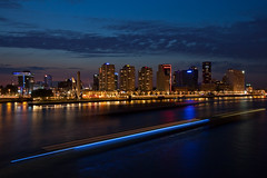 on the nieuwe maas (gsgeorge) Tags: city holland skyline night port river boat rotterdam ship dusk rhine freighter rhineriver nieuwemaas rotterdamskyline