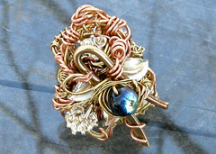 Rococo Ring (Klewism) Tags: art beads wire jewelry ring copper handcrafted ornate brass wirewrapped hammeredmetal klewism wireartisansguild