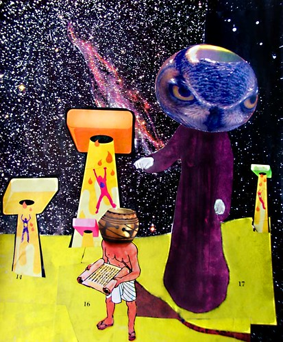 LARRY CARLSON, THE UPLOADERS, collage on paper, 14x11in., 2007.
